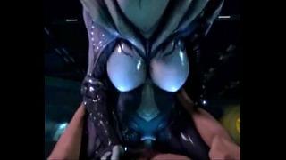 3d Alien Vagina reitet menschlichen Schwanz